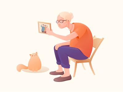 Missing old photos cat lady colour design ui ux illustrator missing love old sketch illustration