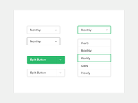 Fat Bold UI Elements - Select with Options and Split Buttons.