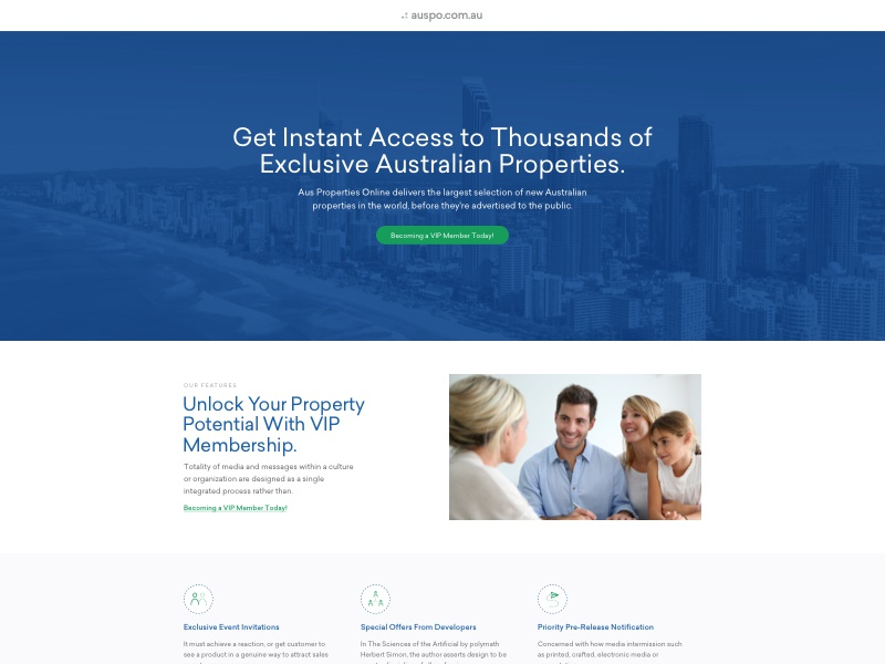 Aus Property Online Landing Page ui design landing page design landing page conversion rate optimisation conversion design