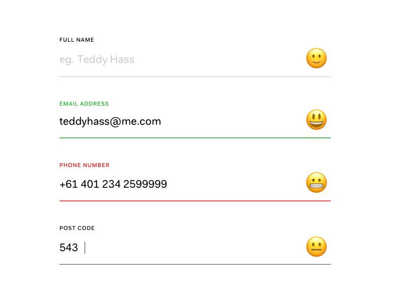 Form Emoji Validation States success validation error validation form validation form states forms emoji