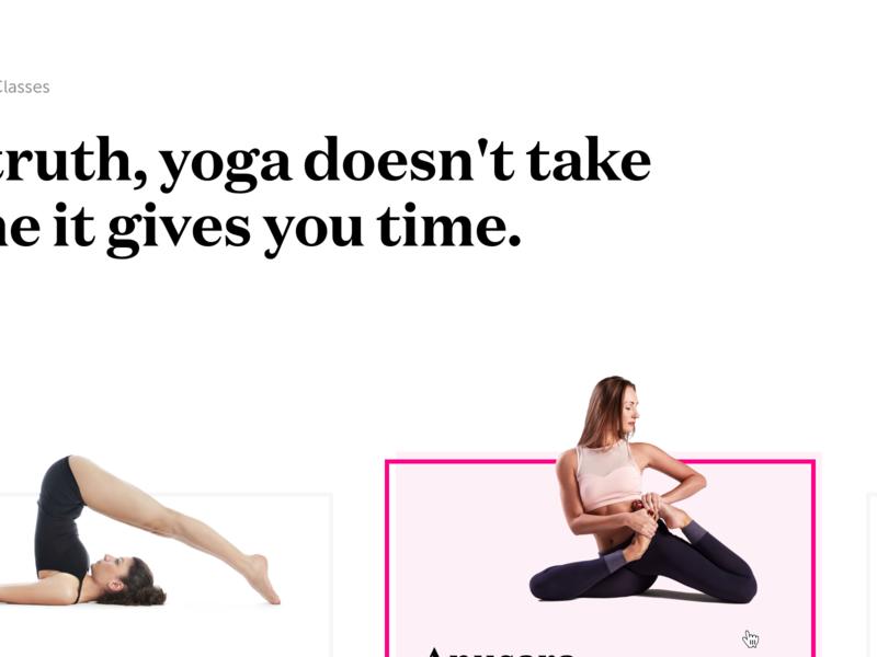 UI - Yoga Classes 100 day challenge landing page designer melbourne ui pink melbourne ui designer yoga white melbourne clean
