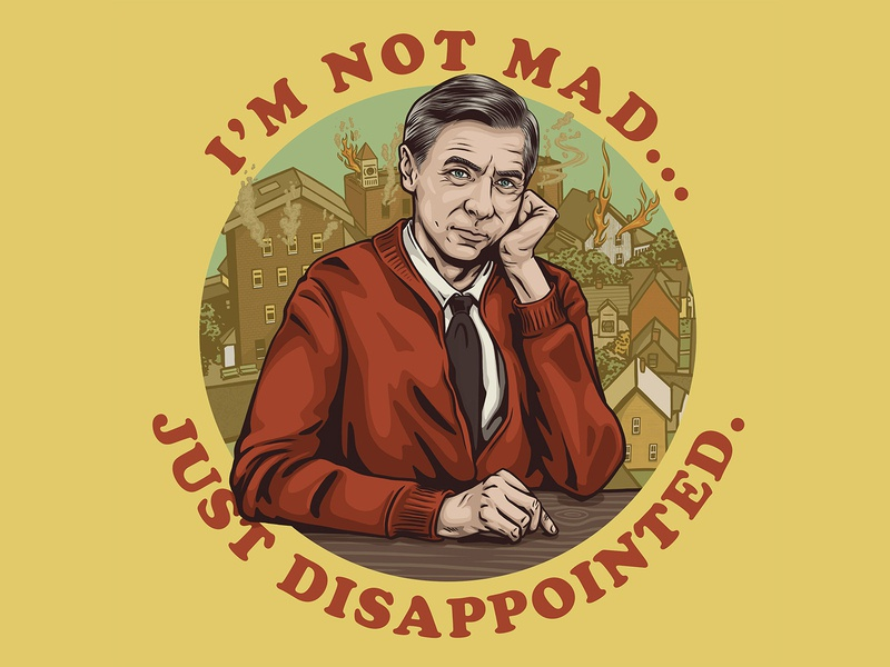 Disappointed Neighbor poster print tie neighbors town neighborhood 2020 tv portrait illustration neighbor mr rogers