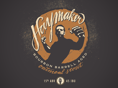Haymaker Bourbon Barrel Oatmeal Stout illustration beer label branding script typography