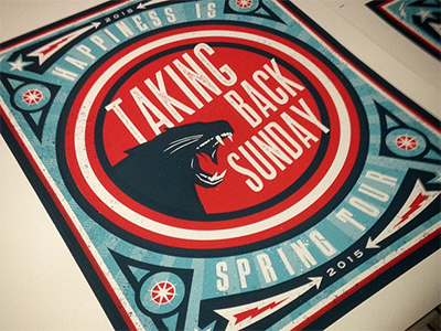 Spring Tour Poster for Taking Back Sunday gig poster screen print illustration panther
