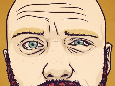 Self Portrait for Bio portrait illustration freckles wrinkles beard