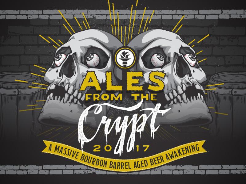 Indiana City Beer Art - Ales From the Crypt bricks rays burst craft halloween creepy skull label beer