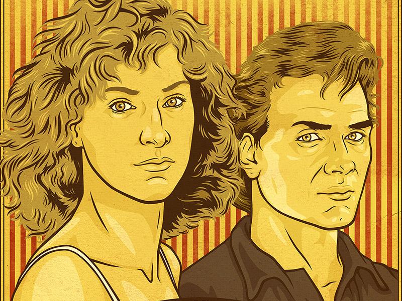 Kellerman's Mountain House - Bigger Picture Show Poster stripes vintage illustration portrait actors gold dancy poster dirty movie