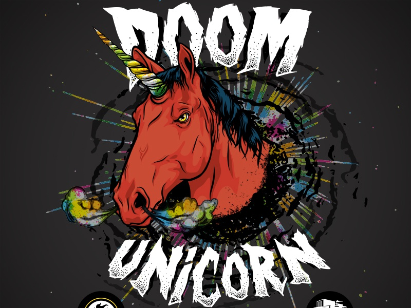 Doom Unicorn - Indiana City Brewing Label Art illustration metal horse unicorn brewing craft beer label beer
