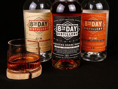 8th Day Distillery Labels spirits queen rum gin packaging label liquor