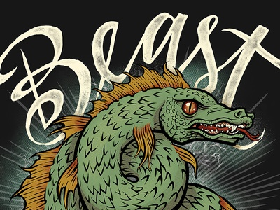 Beast - Indiana City Brewing Label dragon lizard monster sea monster illustration lettering packaging label craft beer beer