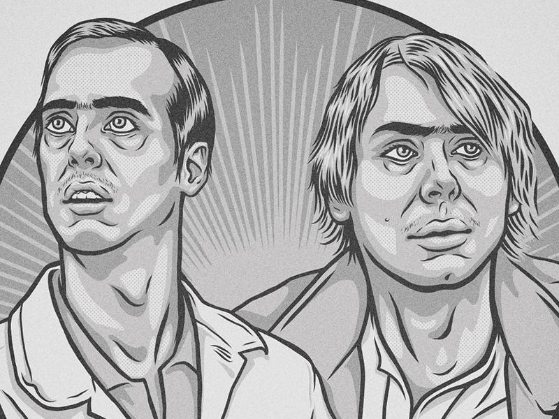 "McPoyles Illustration - ""Milkmen"" family brothers milk halftone faces pop culture vector portrait illustration portrait always sunny"