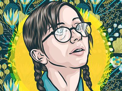 Heather AP Bio glasses girl nerdy pop pop art illustration portrait