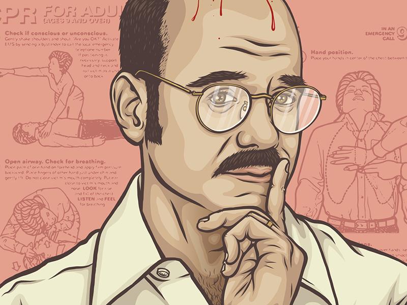 Tobias Fünke mustache cpr blood plugs hair glasses bald illustration portrait tobias funke arrested development