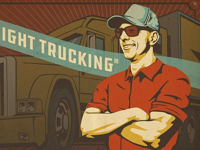 Trucker Illustration vintage trucking portrait illustration