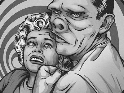 Eye of the Beholder zone twilight doctor freak portrait illustration
