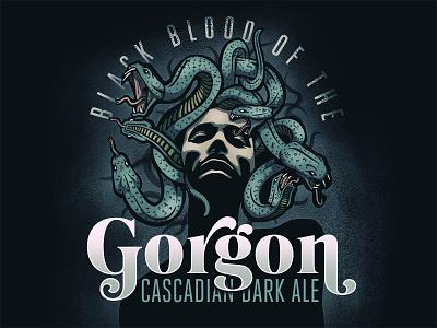Gorgon Dark Ale portrait snake medusa illustration label beer