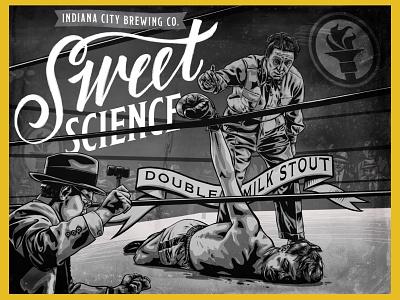 Sweet Science - Indiana City Beer Label vintage label labeldesign boxer boxing portrait illustration design beer