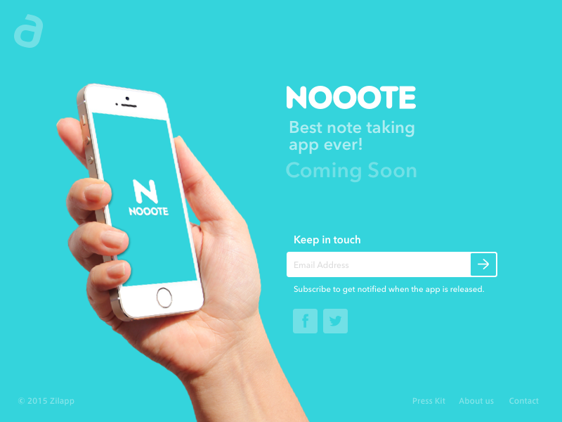 Note App Landing Page responsive magazine mail soon coming sketch page landing app note