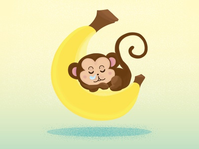 Monkeys & Bananas banana monkey fun doodle vector illustration
