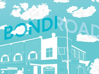 Bondi Road Illustration clouds bondi sydney landscape vector illustration