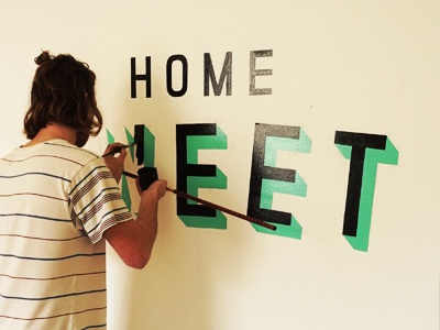 Home sweet... handlettering handmade handcrafted design wood type lettering typography paint sign signpainting