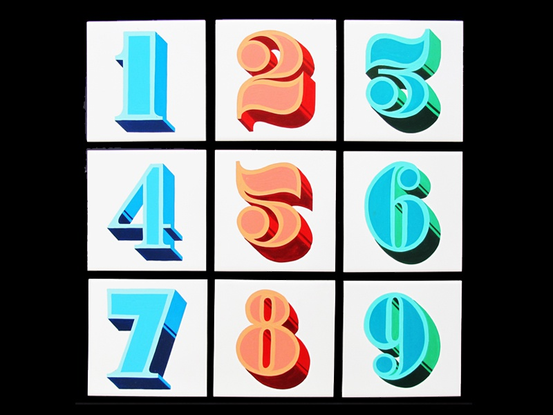 Tactile - Exhibition / Residency numbers design signwriting typography tiles signpainting lettering type retro