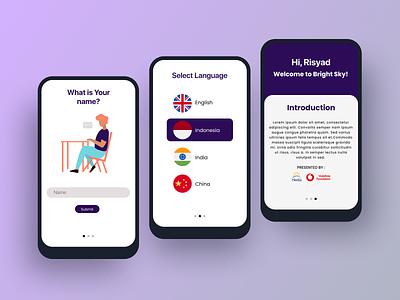 Bright Sky App language app app icon ui typography ux vector branding logo illustration design