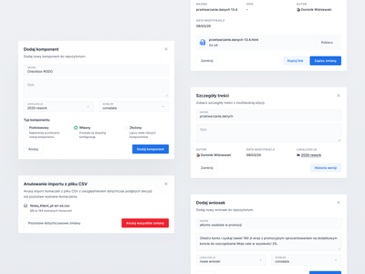 Eximee — Pop-ups pattern design system versioning edit delete confirm pop-up complex list bank fintech visual ui ux product web