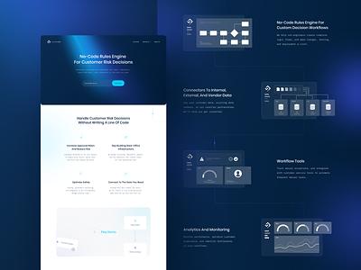 Modern Logic ux web illustration gradient clean visual fintech design no-code blue landing page website ui