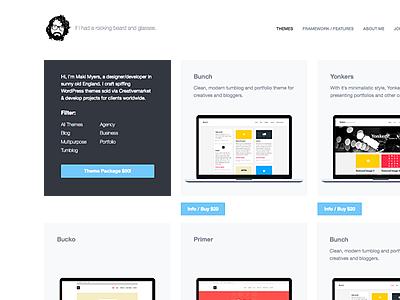 Personal Site #2 freelance personal bio wordpress theme clean modern white minimal filterable