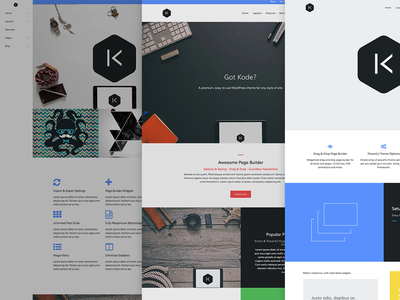 Kode wordpress theme design flat wp html css website layout