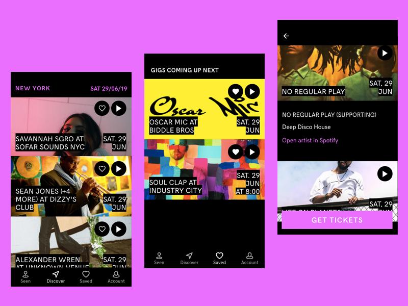 Gigsdeep in the wild music app minimal journal local live music find gigs gigs music angular ionic 4 app