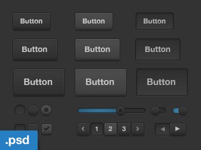 Simple Dark Ui Kit buttons ui ui kit free psd simple clean