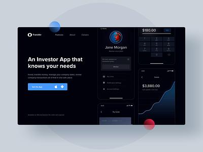 Transfer Landing page - Investment App landingpage savings ui uxui ux web design product design investing charts banking finance app