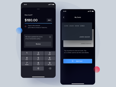 Cards - Investment App savings investment app banking fintech ui ux product design mobile app