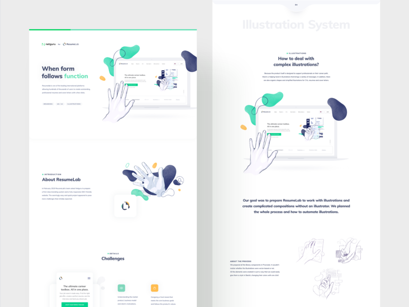 ResumeLab - Case Study seo landing page case study illustration branding web design product design