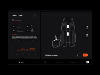 Spacefox - Home Tour real estate app house home design ux ui mars motion animation