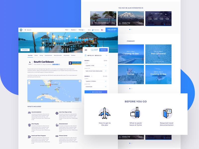 SeaHub Cruise Profile vector ship reservation illustration hotel flat design cruising cruise booking