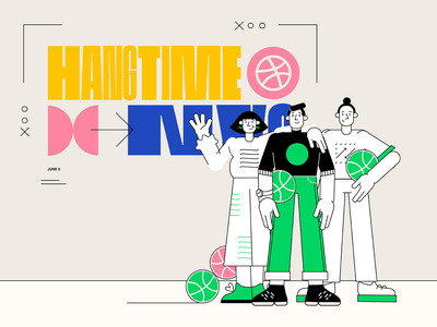 HANGTIME by Dribbble in NYC connect product design people poster meetup conference illustration netguru dribbble