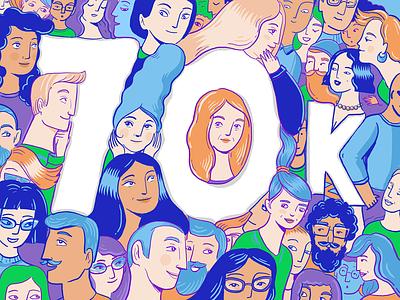 70,000 Followers – Thanks a million! design followers 70k anniversary web design typography product design print mobile illustration branding animation