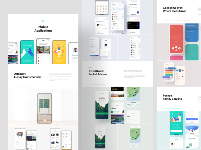 Mobile Applications: Showcase 2019 design illustration teaser landing page behance grid presentation case study showcase interface ux ui application app mobile ios