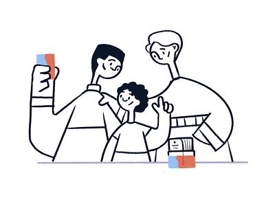 10 Minute Habits: Quality Time kids couple web flat branding illustration