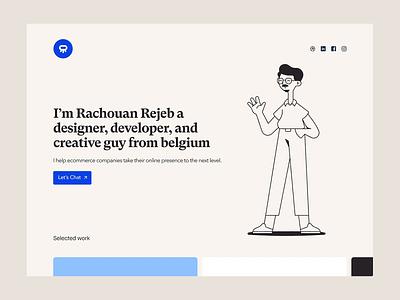 Rachouan Portfolio Homepage typography branding design animation web illustration