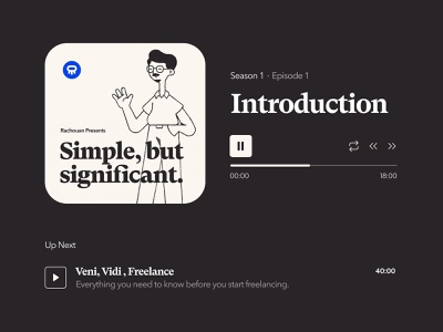 My new podcast Simple But Significant 🎉 app ui vector branding design freelance video player audio player podcast illustration