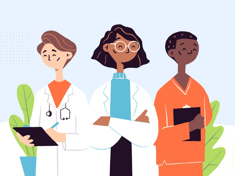 Doctor Home Illustration woman doctor character design homepage vector branding design web illustration