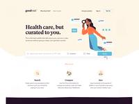 Goodvisit health care platform search character drawing branding ui ux design web illustration