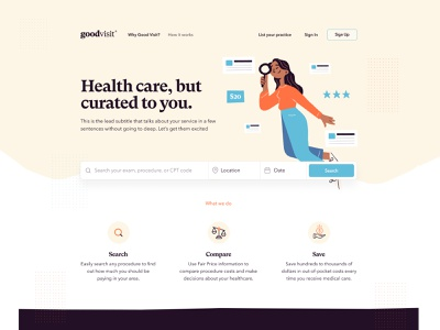 Goodvisit health care platform search character drawing branding ui ux design web illustration