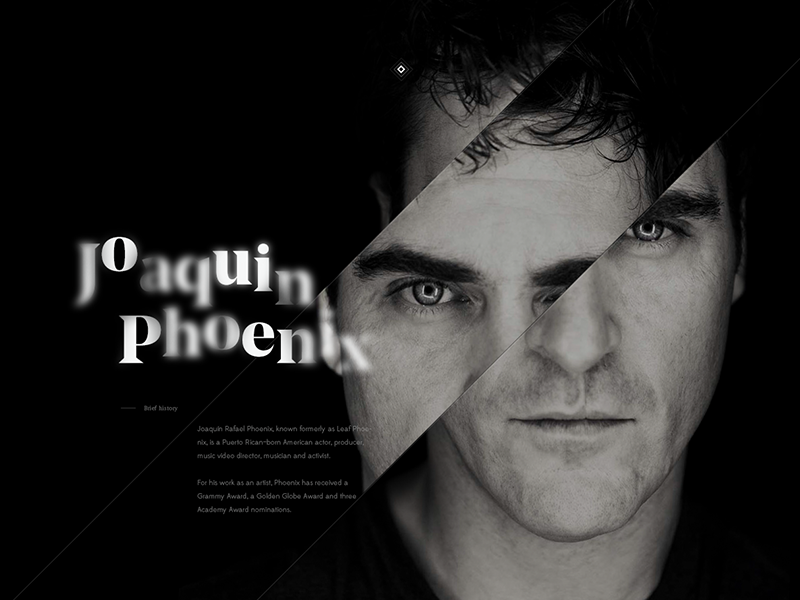 Joaquin Phoenix flat os actor collection expercience clean design web
