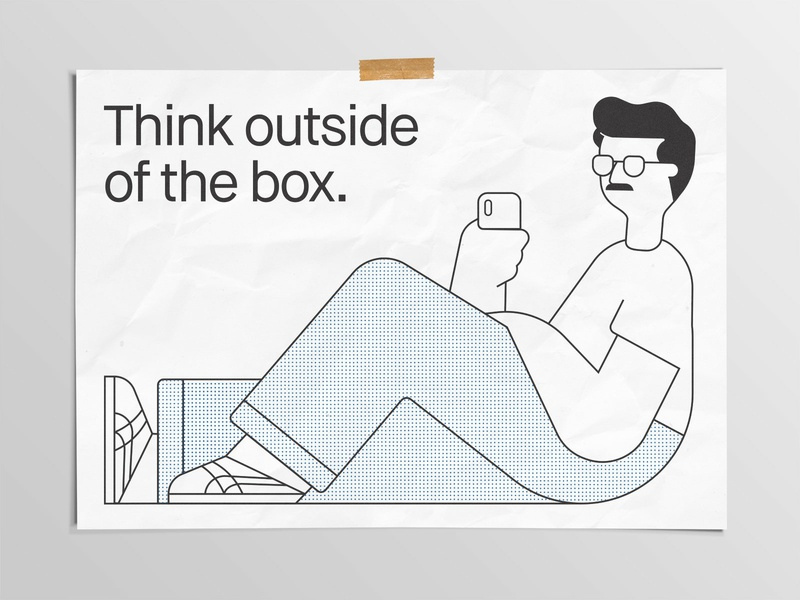 Think Outside Of The Box Print vector design box riso character risograph print illustration