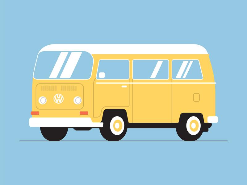 VW Bus 1970 hippie audi volkswagen graphic design car vector design flat illustration